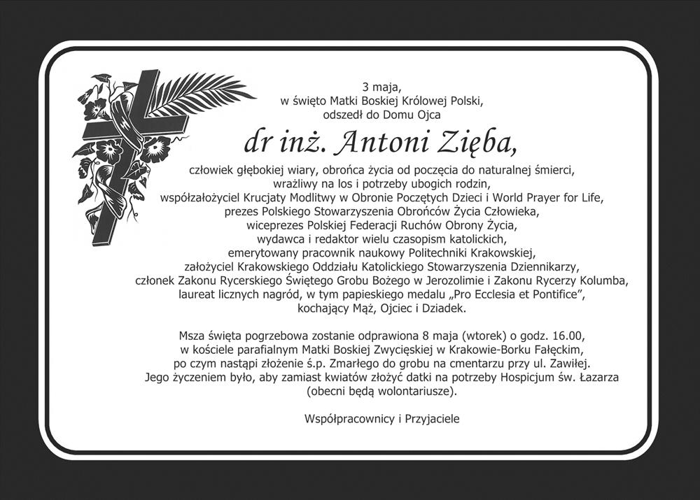 Pogrzeb p. dr inż. Antoniego Zięby