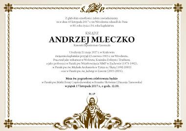 Zmarł Ks. kanonik Andrzej Mleczko